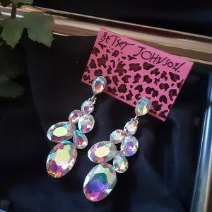 Betsey Johnson Earrings Multicolored Rhinestones